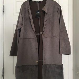 NWT Gray Zara faux suede jacket with faux fur hem